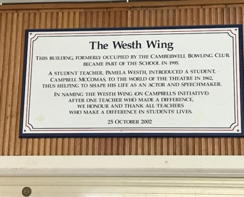 Camberwell Primary School Westh Wing Plaque 1995